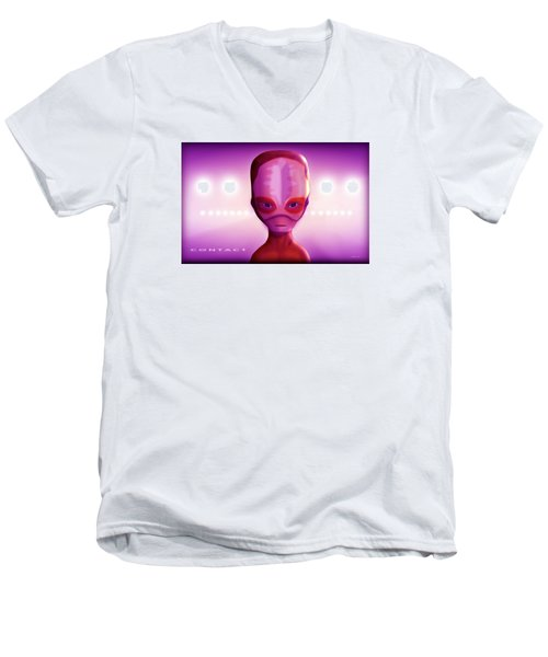 Alien Contact Men's V-Neck T-Shirt by John Wills