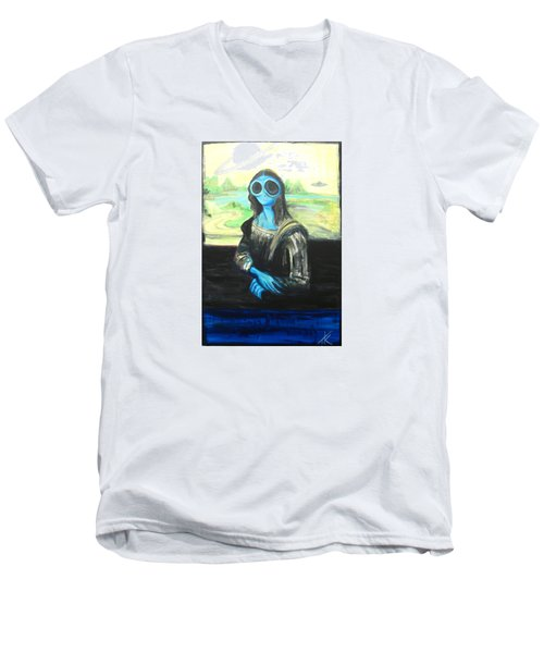 Men's V-Neck T-Shirt featuring the painting alien Mona Lisa by Similar Alien