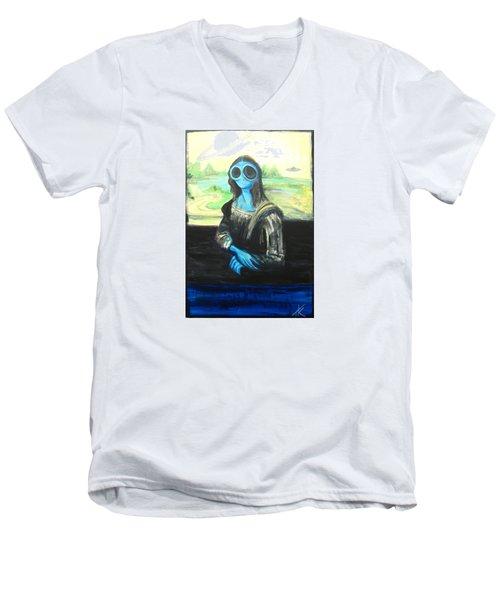alien Mona Lisa Men's V-Neck T-Shirt