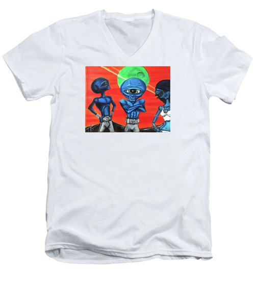 Men's V-Neck T-Shirt featuring the painting Alien Posse by Similar Alien
