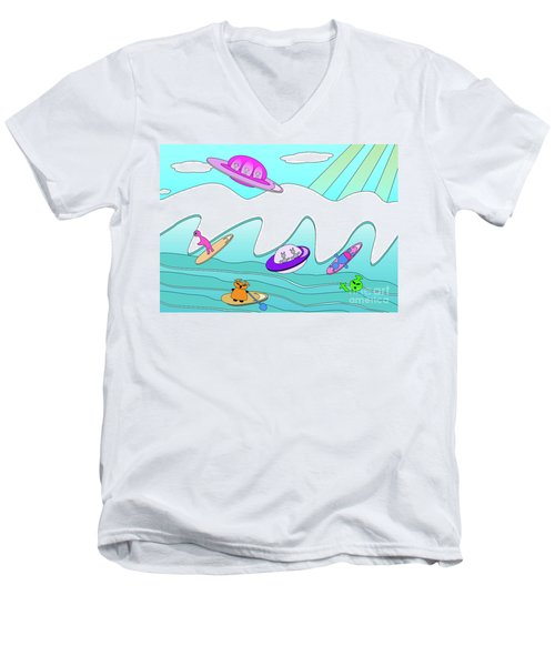 Aliens Go Surfing  Men's V-Neck T-Shirt