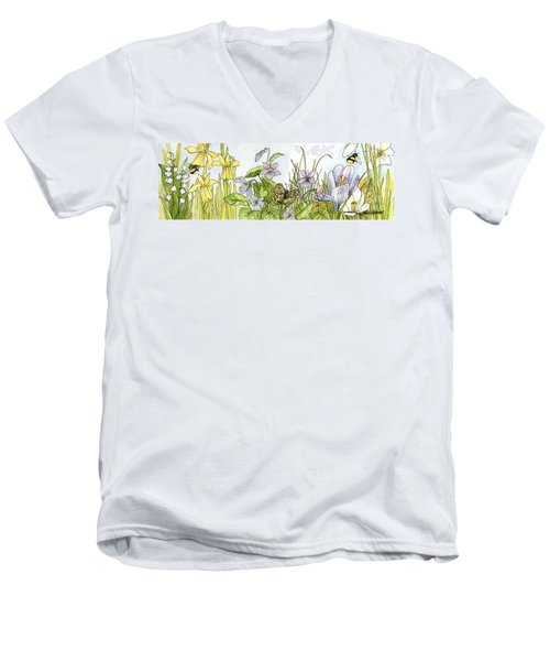 Men's V-Neck T-Shirt featuring the painting  Alive In A Spring Garden by Laurie Rohner