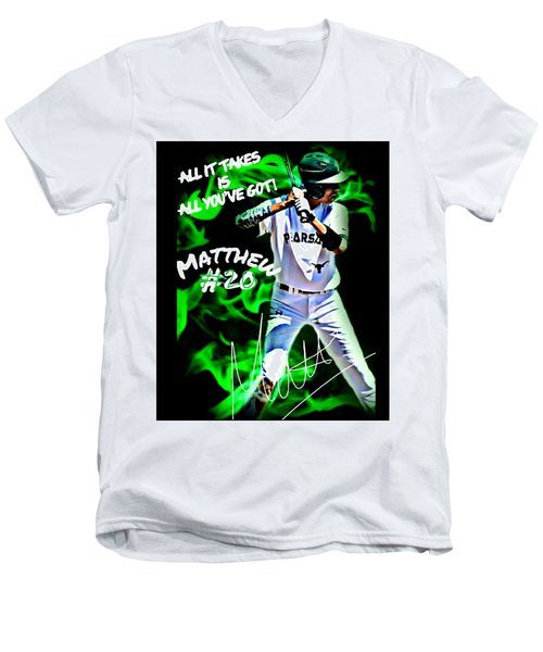 Men's V-Neck T-Shirt featuring the photograph All It Takes Matthew by Linda Cox