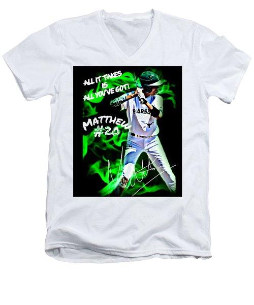 All It Takes Matthew Men's V-Neck T-Shirt by Linda Cox