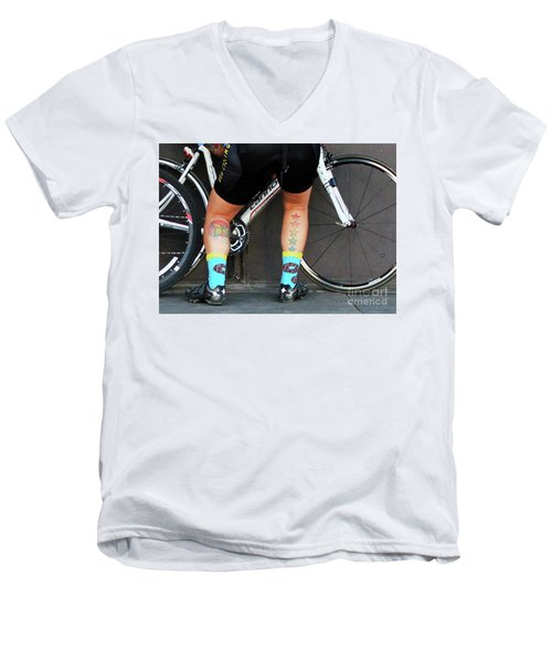 Men's V-Neck T-Shirt featuring the photograph All Star Cyclist by Joe Jake Pratt