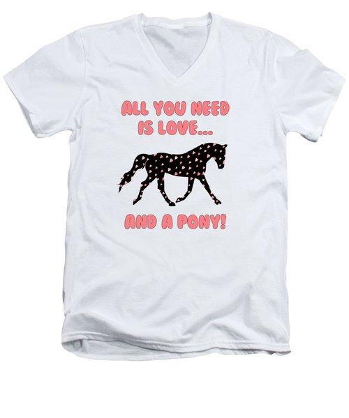 All You Need Is Love And A Pony Men's V-Neck T-Shirt by Patricia Barmatz