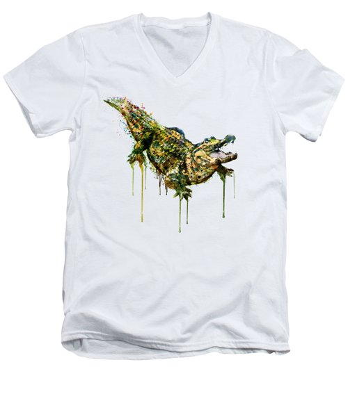 Alligator Watercolor Painting Men's V-Neck T-Shirt by Marian Voicu