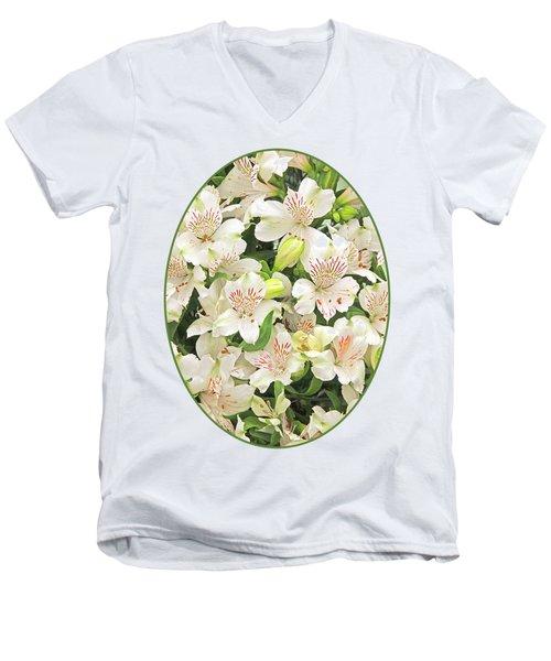Alluring Alstroemeria - Peruvian Lilies Men's V-Neck T-Shirt by Gill Billington