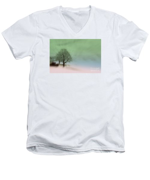 Men's V-Neck T-Shirt featuring the photograph Almost A Dream - Winter In Switzerland by Susanne Van Hulst