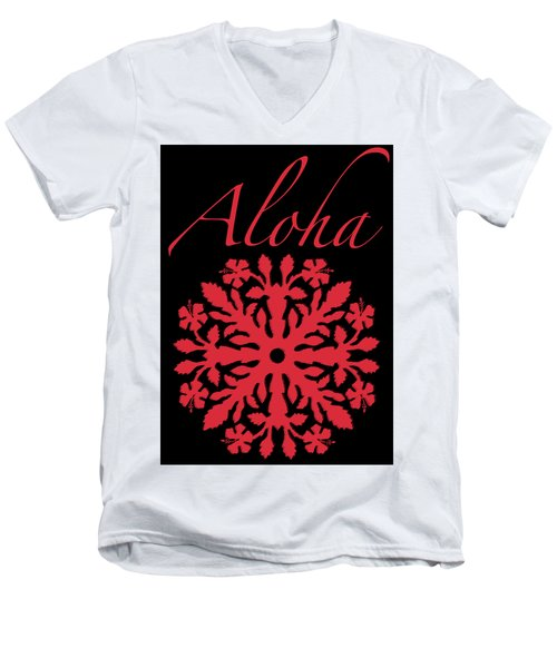 Aloha Red Hibiscus Quilt T-shirt Men's V-Neck T-Shirt by James Temple