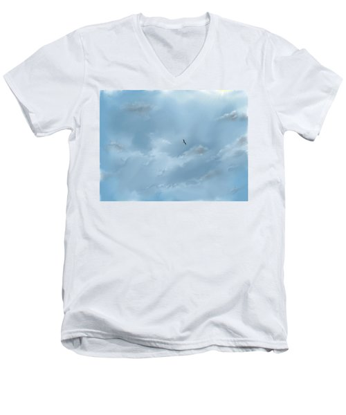 Men's V-Neck T-Shirt featuring the digital art Alone by Darren Cannell