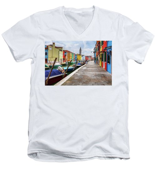 Along The Canal In Burano Island Men's V-Neck T-Shirt