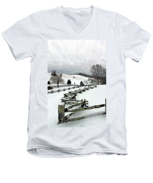 Along The Locust Rails In Winter Men's V-Neck T-Shirt