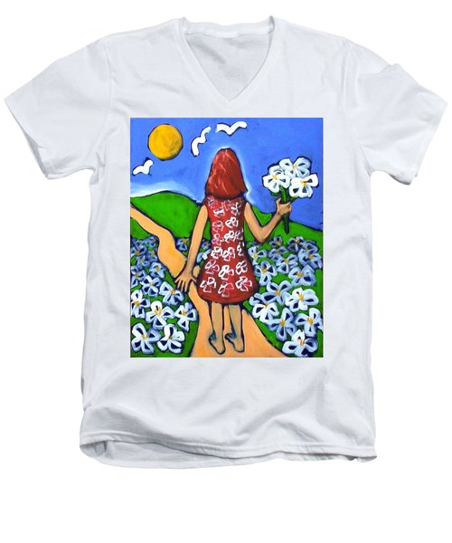 Men's V-Neck T-Shirt featuring the painting Along The New Path by Winsome Gunning
