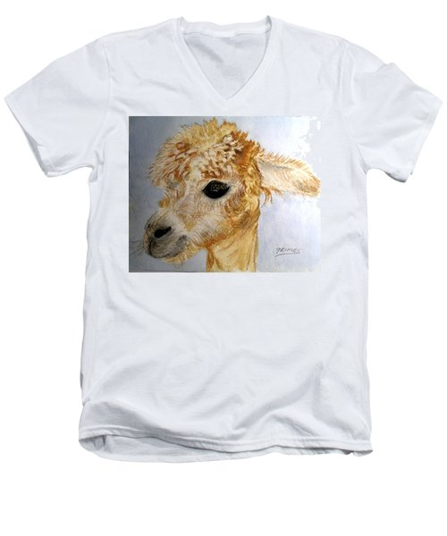 Men's V-Neck T-Shirt featuring the painting Alpaca Cutie by Carol Grimes