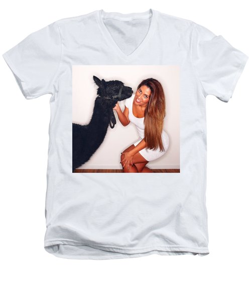 Men's V-Neck T-Shirt featuring the photograph Alpaca Emily And Breanna by TC Morgan