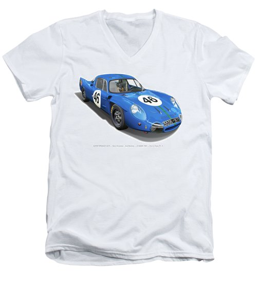 Alpine Renault A210 Men's V-Neck T-Shirt by Alain Jamar