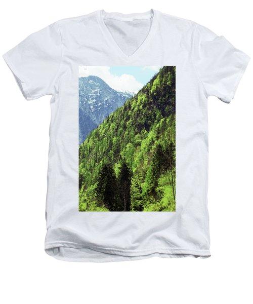 Alpine View In Green Men's V-Neck T-Shirt