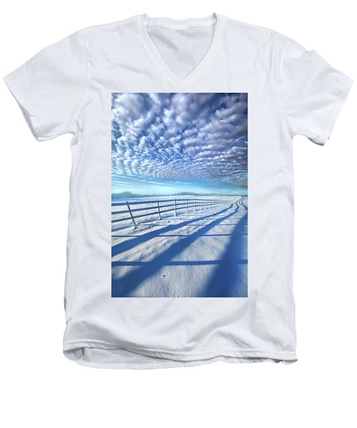 Men's V-Neck T-Shirt featuring the photograph Always Whiter On The Other Side Of The Fence by Phil Koch
