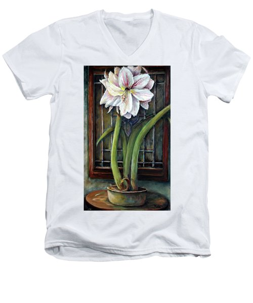 Amaryllis In The Window Men's V-Neck T-Shirt by Bernadette Krupa