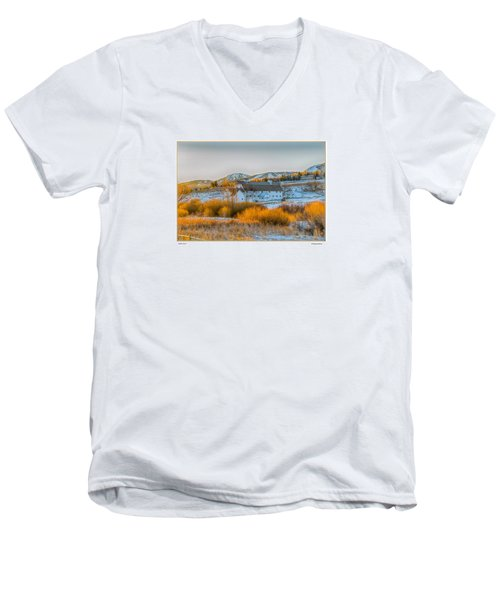 Men's V-Neck T-Shirt featuring the photograph Amber Grass by R Thomas Berner