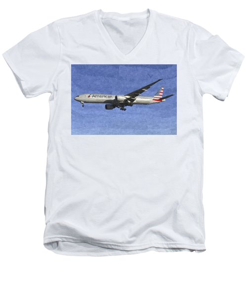 American Airlines Boeing 777 Aircraft Art Men's V-Neck T-Shirt
