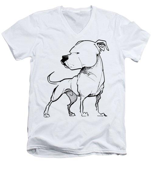 American Bulldog Gesture Sketch Men's V-Neck T-Shirt