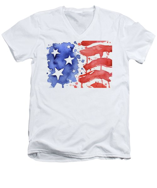 American Flag Watercolor Painting Men's V-Neck T-Shirt