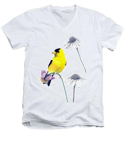 American Goldfinch On Coneflowers Men's V-Neck T-Shirt