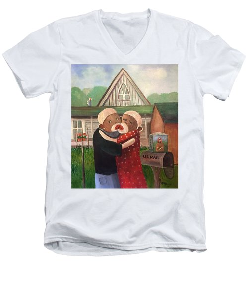 American Gothic The Monkey Lisa And The Holler Men's V-Neck T-Shirt