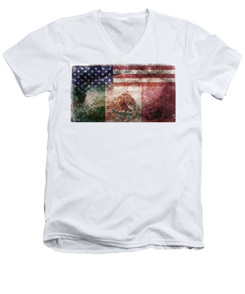 American Mexican Tattered Flag  Men's V-Neck T-Shirt