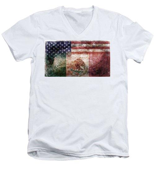 American Mexican Tattered Flag  Men's V-Neck T-Shirt