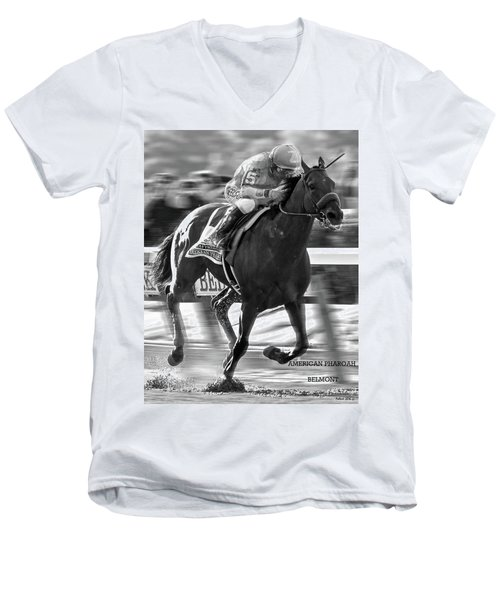 American Pharoah And Victor Espinoza Win The 2015 Belmont Stakes Men's V-Neck T-Shirt by Thomas Pollart