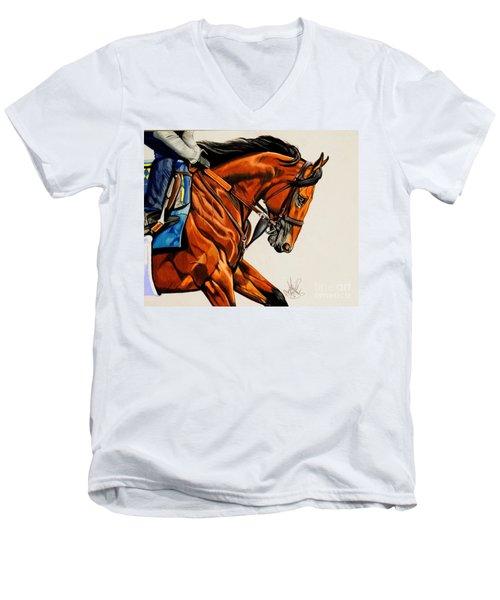 American Pharoah - Triple Crown Winner In White Men's V-Neck T-Shirt by Cheryl Poland