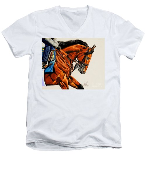 American Pharoah - Triple Crown Winner In White Men's V-Neck T-Shirt