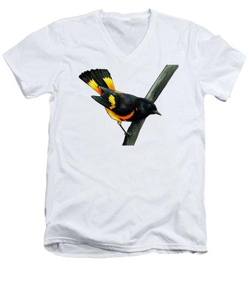 American Redstart Men's V-Neck T-Shirt by Rory Viale