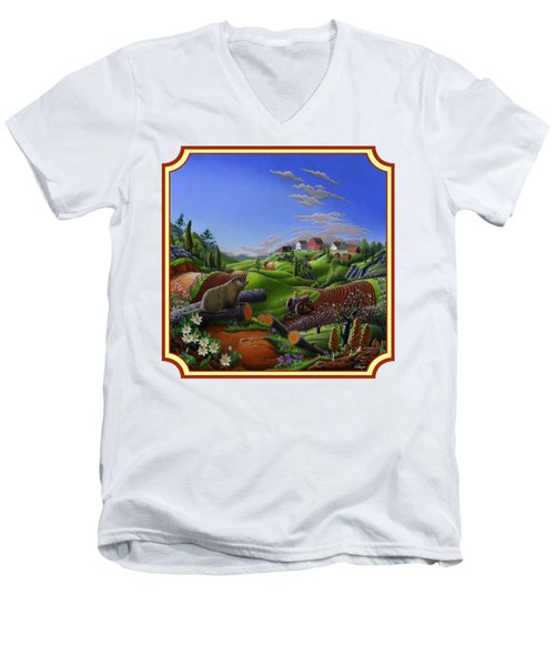 Americana Decor - Springtime On The Farm Country Life Landscape - Square Format Men's V-Neck T-Shirt by Walt Curlee