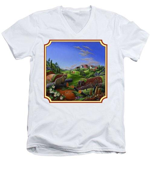 Americana Decor - Springtime On The Farm Country Life Landscape - Square Format Men's V-Neck T-Shirt