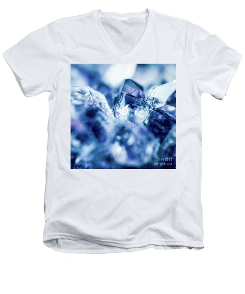 Amethyst Blue Men's V-Neck T-Shirt by Sharon Mau