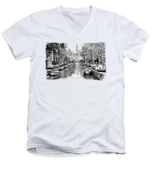 Amsterdam Canal 2 Black And White Men's V-Neck T-Shirt