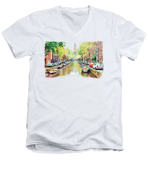 Amsterdam Canal 2 Men's V-Neck T-Shirt by Marian Voicu