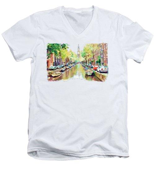 Amsterdam Canal 2 Men's V-Neck T-Shirt