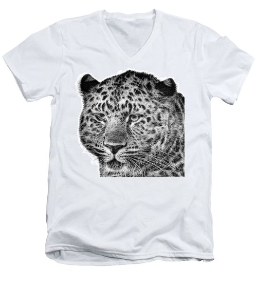 Amur Leopard Men's V-Neck T-Shirt by John Edwards