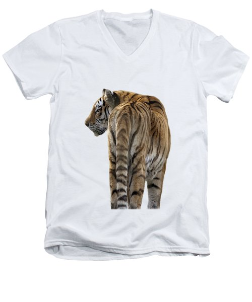 Amur Tiger On Transparent Background Men's V-Neck T-Shirt by Terri Waters
