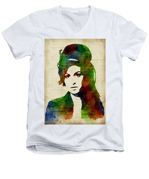 Amy Winehouse Watercolor Men's V-Neck T-Shirt