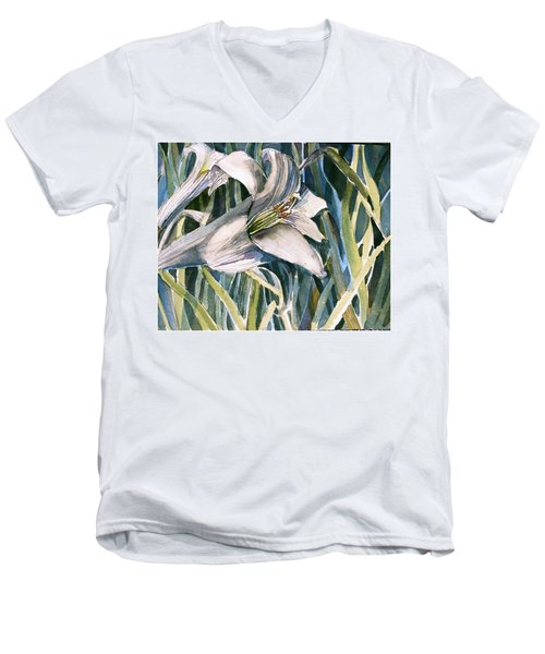 Men's V-Neck T-Shirt featuring the painting An Easter Lily by Mindy Newman
