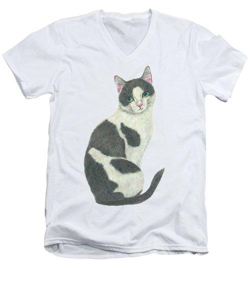 An Elegant Tuxedo Cat Men's V-Neck T-Shirt