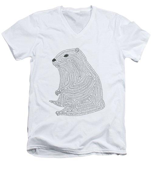 An Elusive Marmot Men's V-Neck T-Shirt by Nerea Gutierrez