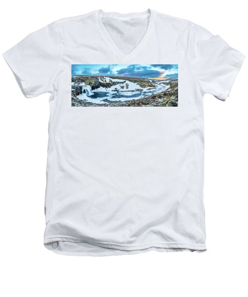 An Icy Waterfall Panorama During Sunrise In Iceland Men's V-Neck T-Shirt by Joe Belanger