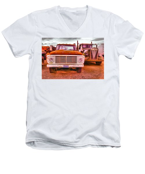 Men's V-Neck T-Shirt featuring the photograph An Old Ford And Kenworth by Jeff Swan